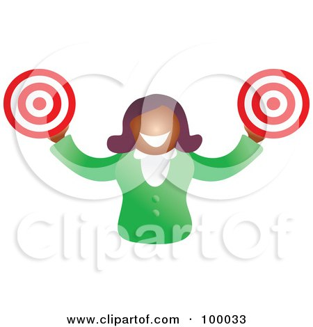 Royalty-Free (RF) Clipart Illustration of a Businesswoman Holding Targets by Prawny