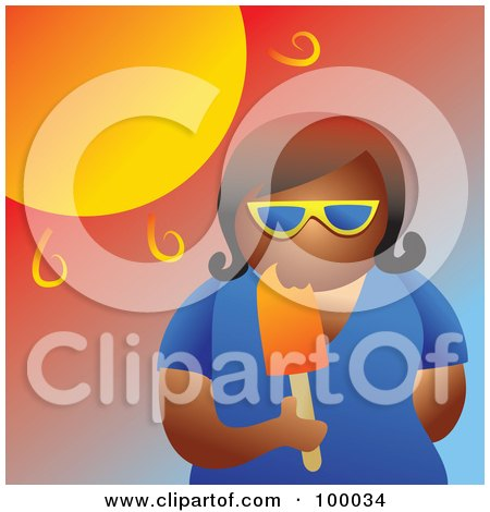 Woman Eating A Popsicle In The Hot Summer Heat Posters, Art Prints