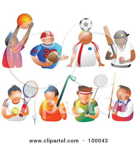 Royalty-Free (RF) Clipart Illustration of a Digital Collage Of Sporty Men by Prawny