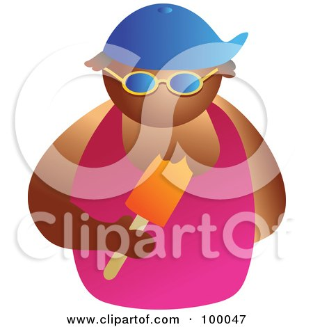 Royalty-Free (RF) Clipart Illustration of a Man Wearing Shades And Eating A Popsicle by Prawny