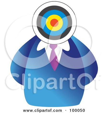 Royalty-Free (RF) Clipart Illustration of a Businessman With A Target Head by Prawny