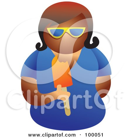Royalty-Free (RF) Clipart Illustration of a Woman Wearing Shades And Eating A Popsicle by Prawny