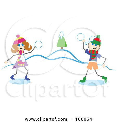 Royalty-Free (RF) Clipart Illustration of Stick Children Having a Snowball Fight by Prawny