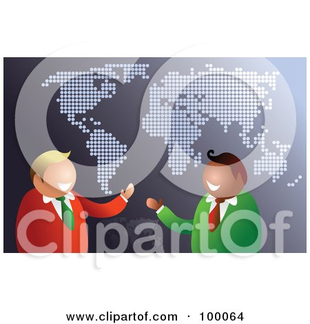 Royalty-Free (RF) Clipart Illustration of a Friendly Businsesmen Over A Gray Map by Prawny