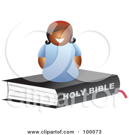 Royalty-Free (RF) Clipart Illustration of a Happy Black Woman On A Bible by Prawny