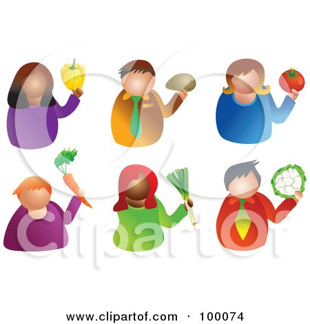Royalty-Free (RF) Clipart Illustration of a Digital Collage Of Men And Women Holding Produce by Prawny