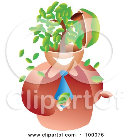 Royalty-Free (RF) Clipart Illustration of a Businessman With A Tree Brain by Prawny