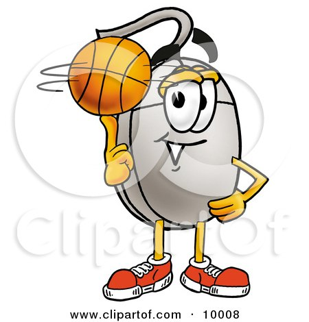 Clipart Picture of a Computer Mouse Mascot Cartoon Character Spinning a Basketball on His Finger by Toons4Biz