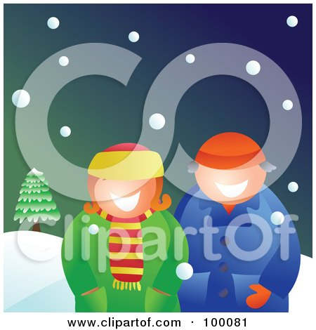 Royalty-Free (RF) Clipart Illustration of a Couple Wearing Winter Coats And Standing In The Snow by Prawny