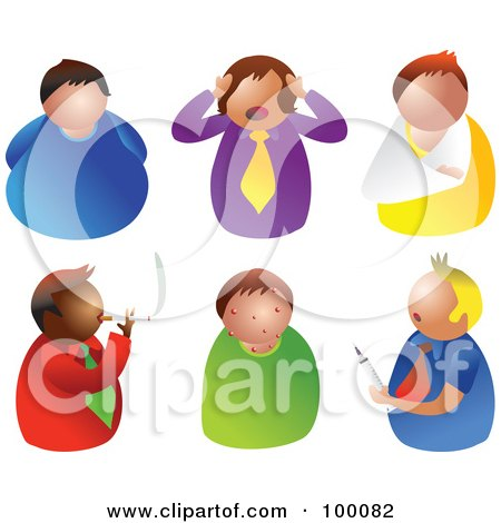 Royalty-Free (RF) Clipart Illustration of a Digital Collage Of Six Unhealthy Men by Prawny