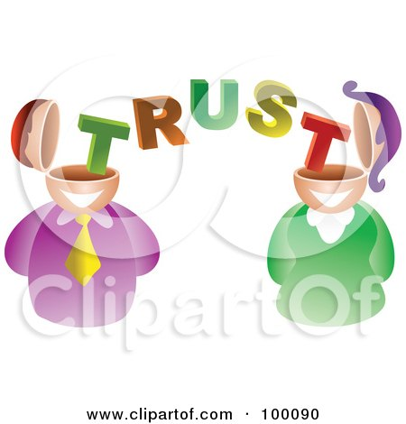 Royalty-Free (RF) Clipart Illustration of a Businses Man And Woman With Trust Brains by Prawny