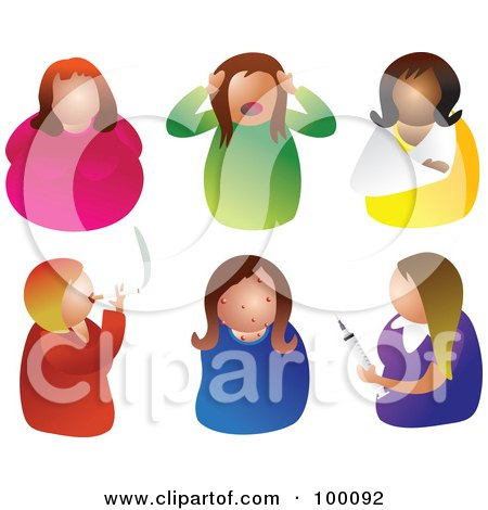 Royalty-Free (RF) Clipart Illustration of a Digital Collage Of Six Unhealthy Women by Prawny