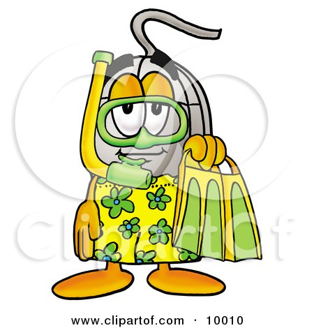 Clipart Picture of a Computer Mouse Mascot Cartoon Character in Green and Yellow Snorkel Gear by Toons4Biz