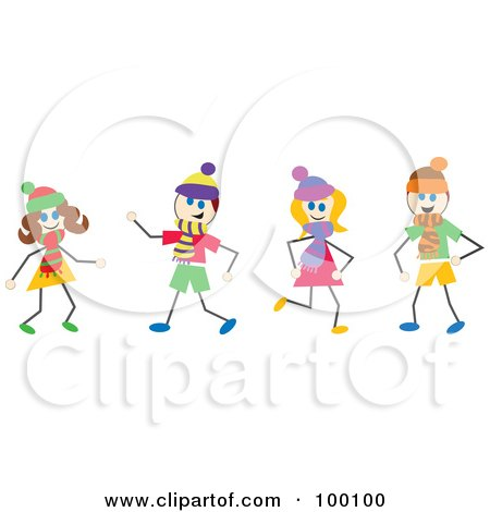 Royalty-Free (RF) Clipart Illustration of Stick Children Wearing Scarves by Prawny