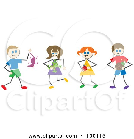 Royalty-Free (RF) Clipart Illustration of Stick Children Holding Wild Animals And Bugs by Prawny
