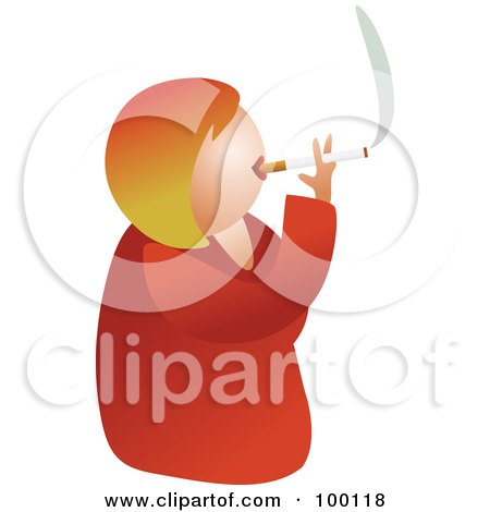 Royalty-Free (RF) Clipart Illustration of an Unhealthy Smoking Woman by Prawny