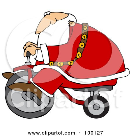 Royalty-Free (RF) Clipart Illustration of Santa Riding By On A Trike by djart