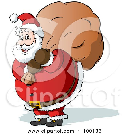 Royalty-Free (RF) Clipart Illustration of a Chubby St Nicholas Carrying A Christmas Toy Sack by Holger Bogen