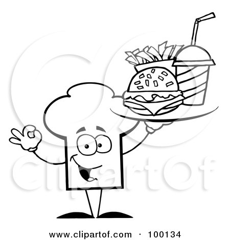 Royalty-Free (RF) Clipart Illustration of an Outlined Chef Hat Guy Serving Fast Food by Hit Toon