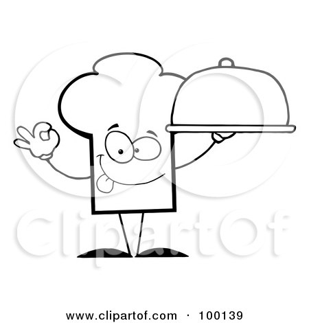Royalty-Free (RF) Clipart Illustration of an Outlined Chef Hat Guy Holding A Platter by Hit Toon