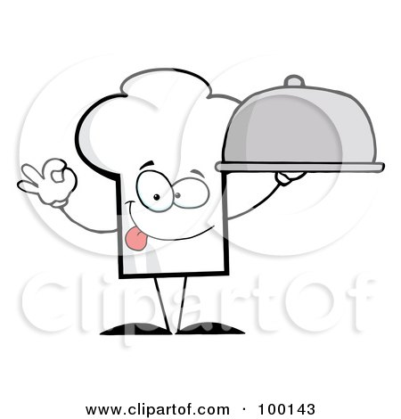 Royalty-Free (RF) Clipart Illustration of a Chef Hat Guy Holding A Platter by Hit Toon
