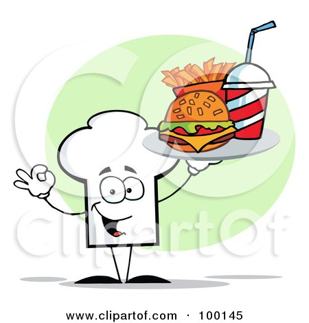 Royalty-Free (RF) Clipart Illustration of a Chef Hat Guy Carrying Fast Food by Hit Toon