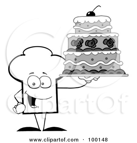 Royalty-Free (RF) Clipart Illustration of an Outlined Chef Hat Guy Holding A Cake by Hit Toon