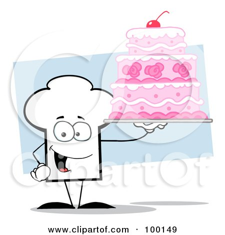 Royalty-Free (RF) Clipart Illustration of a Chef Hat Guy Holding A Pink Wedding Cake by Hit Toon