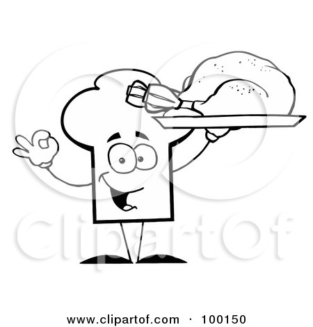 Royalty-Free (RF) Clipart Illustration of an Outlined Chef Hat Guy Serving a Turkey by Hit Toon