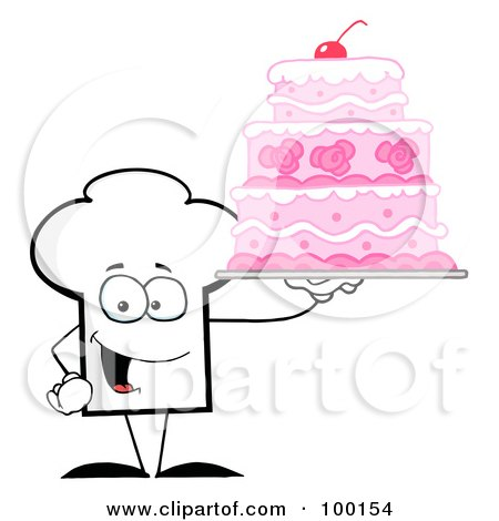 Royalty-Free (RF) Clipart Illustration of a Chef Hat Guy Holding A Pink Cake by Hit Toon