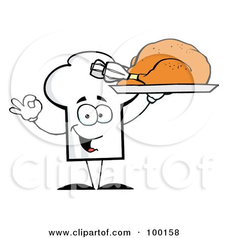 Royalty-Free (RF) Clipart Illustration of a Chef Hat Guy Serving a Turkey by Hit Toon