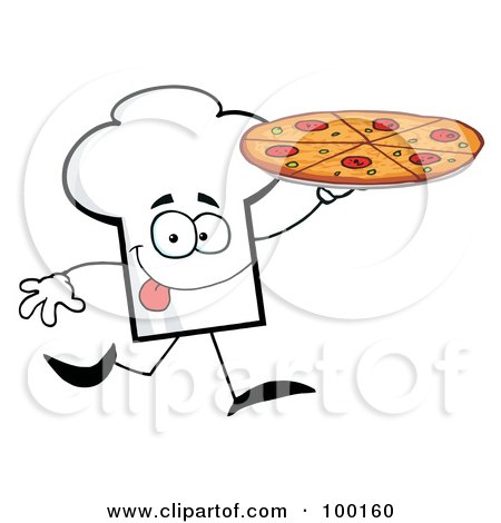 Royalty-Free (RF) Clipart Illustration of a Chef Hat Guy Carrying A Pizza by Hit Toon