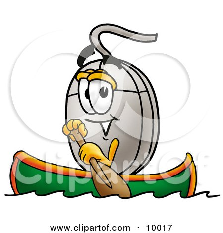 Clipart Picture of a Computer Mouse Mascot Cartoon Character Rowing a Boat by Toons4Biz