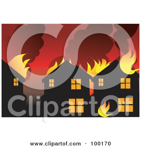 Royalty-Free (RF) Clipart Illustration of a Eighborhood Burning From A Wild Fire by mayawizard101
