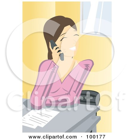Royalty-Free (RF) Clipart Illustration of a Friendly Brunette Businesswoman Talking On A Cell Phone by mayawizard101