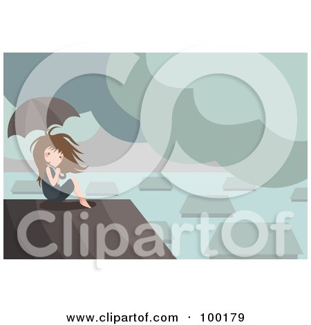 Royalty-Free (RF) Clipart Illustration of a Boy Sitting On A Roof In A Flooded Village by mayawizard101