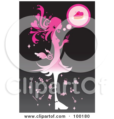 Royalty-Free (RF) Clipart Illustration of a Pink Silhouetted Girl Eating Candy by mayawizard101