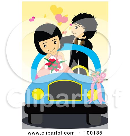 Royalty-Free (RF) Clipart Illustration of a Cute Wedding Couple In Their Getaway Car by mayawizard101