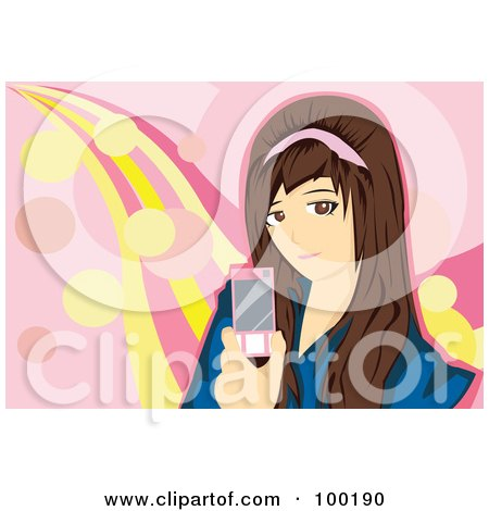 Royalty-Free (RF) Clipart Illustration of a Brunette Girl Holding A Pink Cell Phone by mayawizard101
