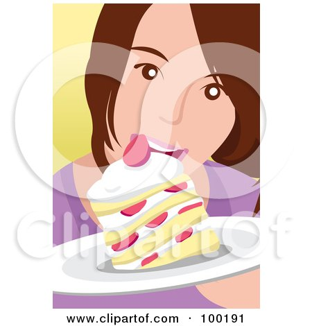 Royalty-Free (RF) Clipart Illustration of a Girl Eating Strawberry Shortcake by mayawizard101