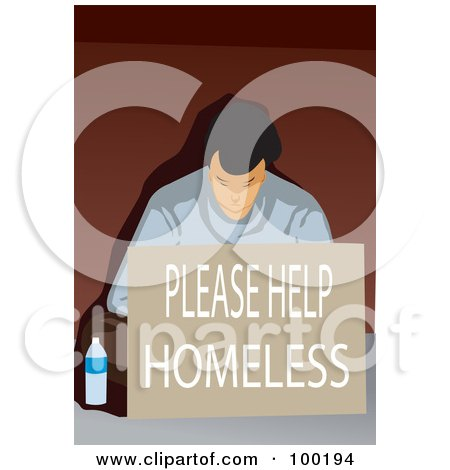Royalty-Free (RF) Clipart Illustration of a Poor Man Sitting With A Please Help Homeless Sign by mayawizard101