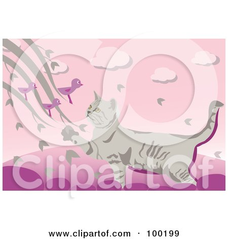 Royalty-Free (RF) Clipart Illustration of a Cat On A Fence, Reaching For Birds by mayawizard101