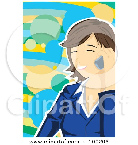 Royalty-Free (RF) Clipart Illustration of a Happy Brunette Businesswoman Talking On A Cell Phone by mayawizard101