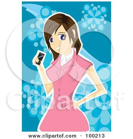 Royalty-Free (RF) Clipart Illustration of a Woman In A Pink Suit, Holding A Cell Phone by mayawizard101