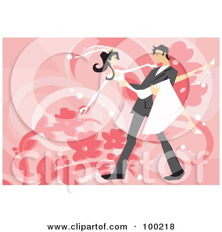 Royalty-Free (RF) Clipart Illustration of a Groom Carrying His Slender Bride by mayawizard101