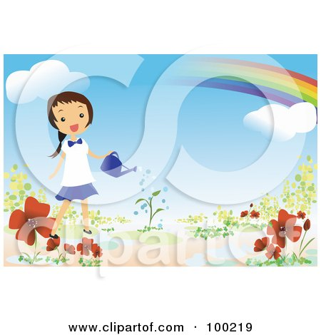 Royalty-Free (RF) Clipart Illustration of a Happy Girl Watering Flowers Under A Rainbow In Her Garden by mayawizard101