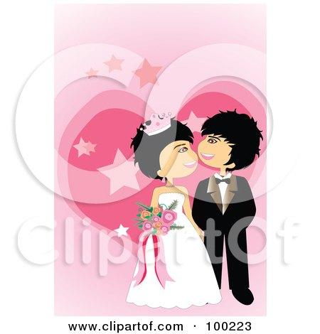 RoyaltyFree RF Clipart Illustration of a Cute Wedding Couple Admiring