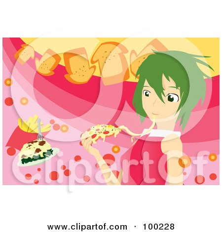 Royalty-Free (RF) Clipart Illustration of a Green Haired Girl Eating Cheesy Pizza by mayawizard101