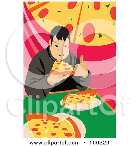 Royalty-Free (RF) Clipart Illustration of a Chubby Man Eating Pizza Slices by mayawizard101