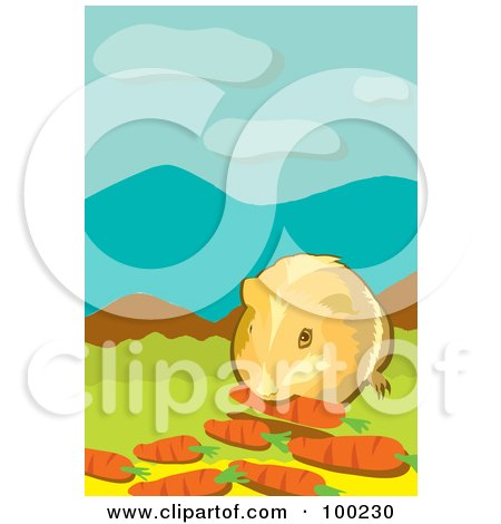 Royalty-Free (RF) Clipart Illustration of a Pet Hamster Eating Carrots by mayawizard101